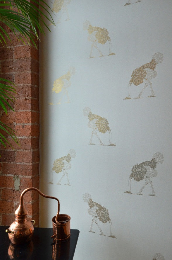 Large Gold Ostrich on Bone Wallpaper. Designed by Beware the Moon