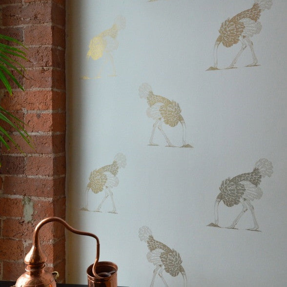 Ostrich Wallpaper in Australia | Beware the Moon Wallpaper. Gold Ostriches on White background.
