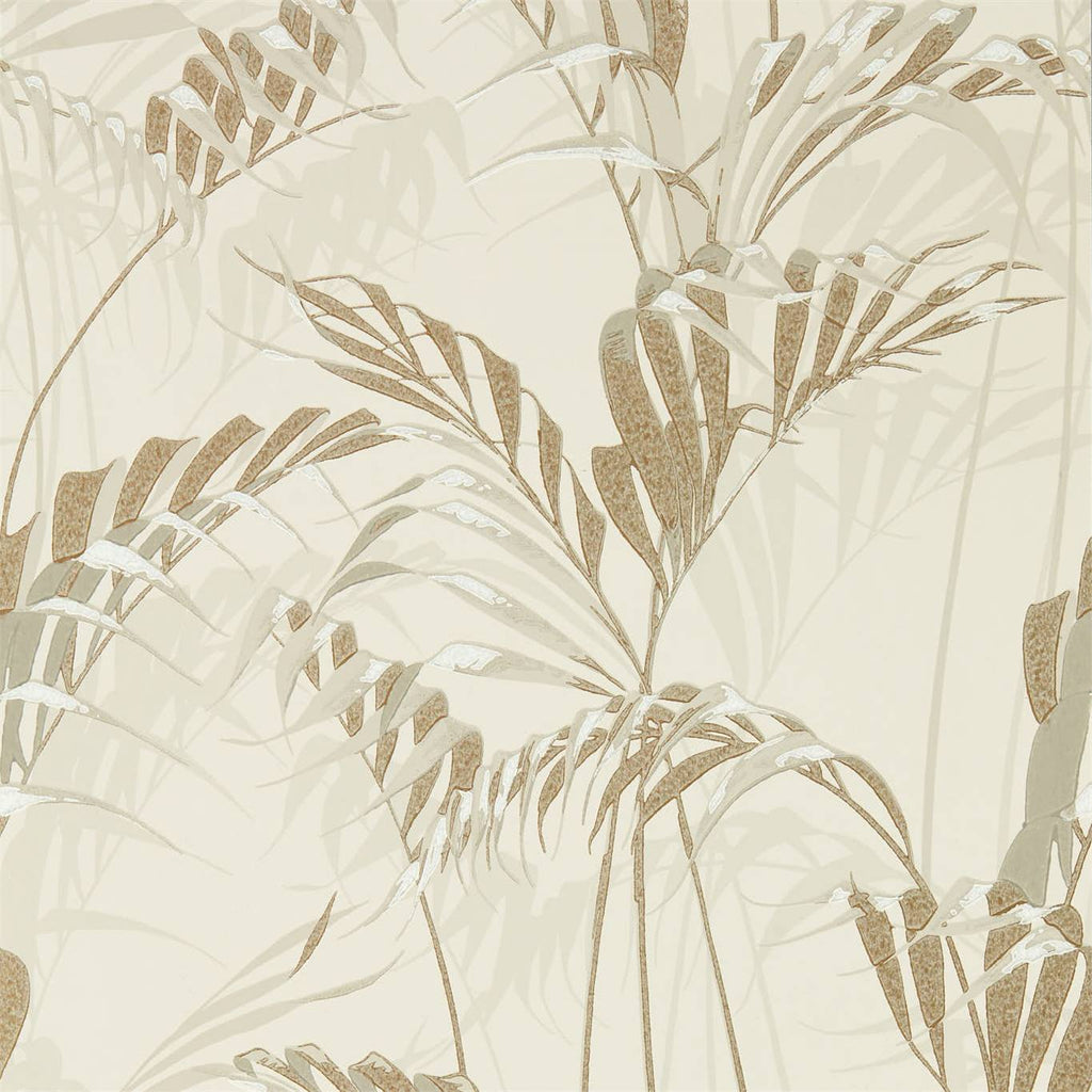 Palm House Wallpaper in Linen & Gilver