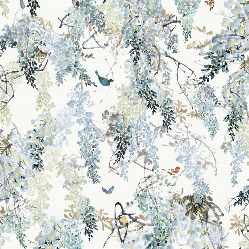 Wisteria Wallpaper Panel in Aqua by Sanderson