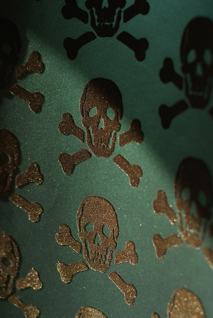 Beware The Moon Skulls Bronze on Oils Slick Wallpaper