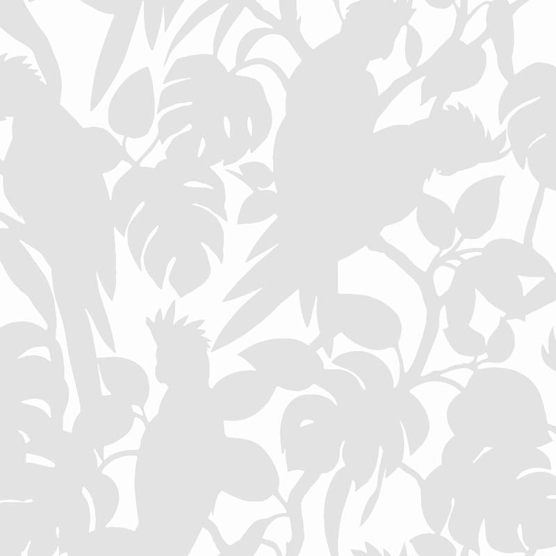 Florence Broadhurst Wallpaper | Cockatoos | Silver Matte White
