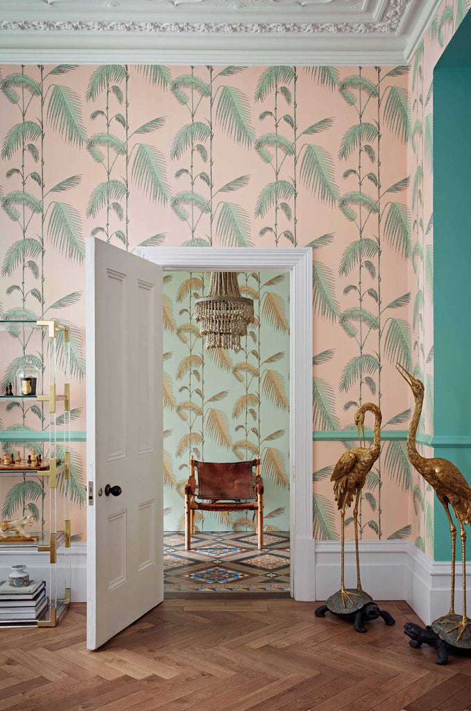 Palm Leaves wallpaper in Pink by Cole & Son Room Shot