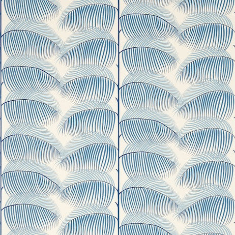 Sanderson Manila Wallpaper in Blue/Linen DVOY213369