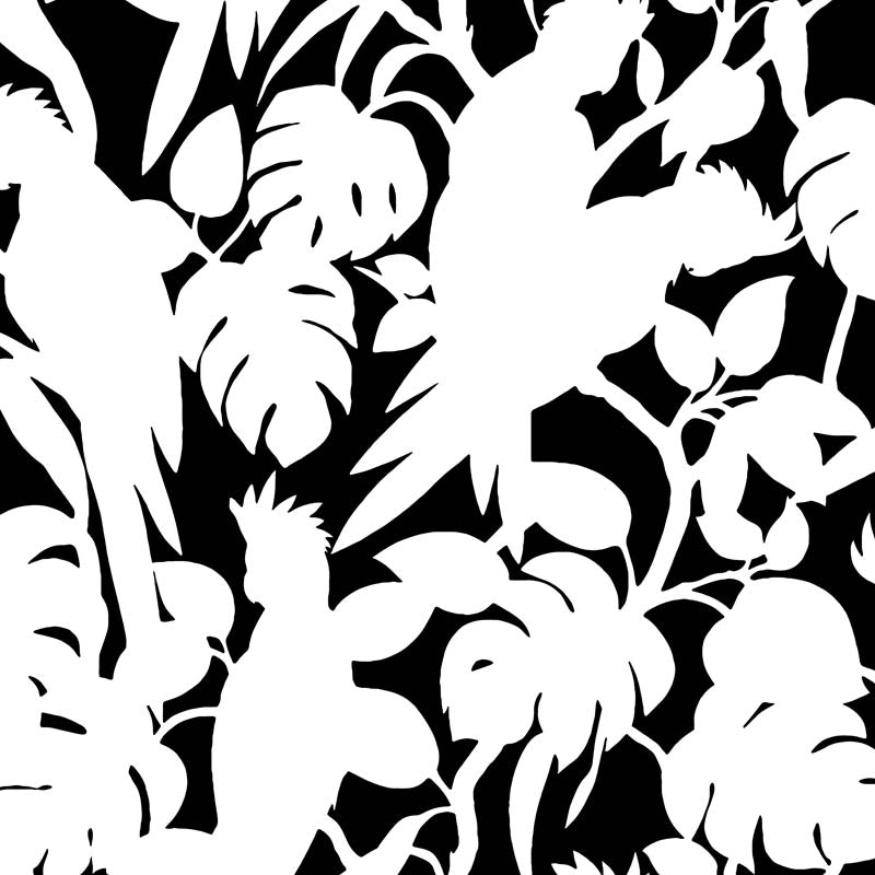 Florence Broadhurst Cockatoos Wallpaper Soot Matt White