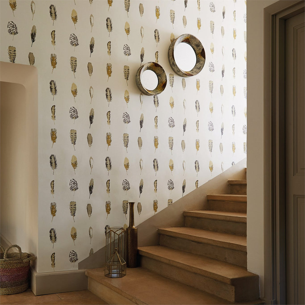 Harlequin Wallpaper Australia | Limosa in Mustard/Charcoal/Stone