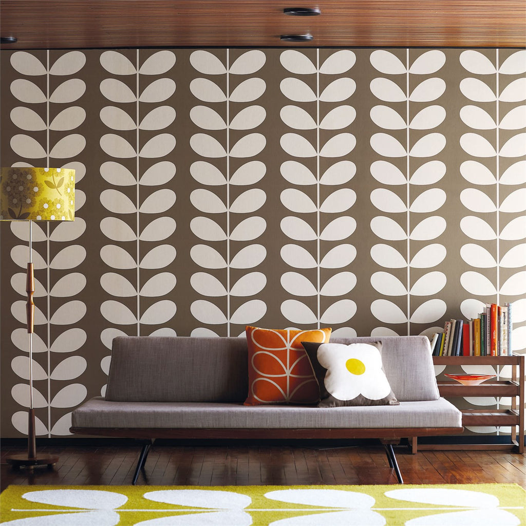 Orla Kiely Giant Stem Wallpaper in Brown
