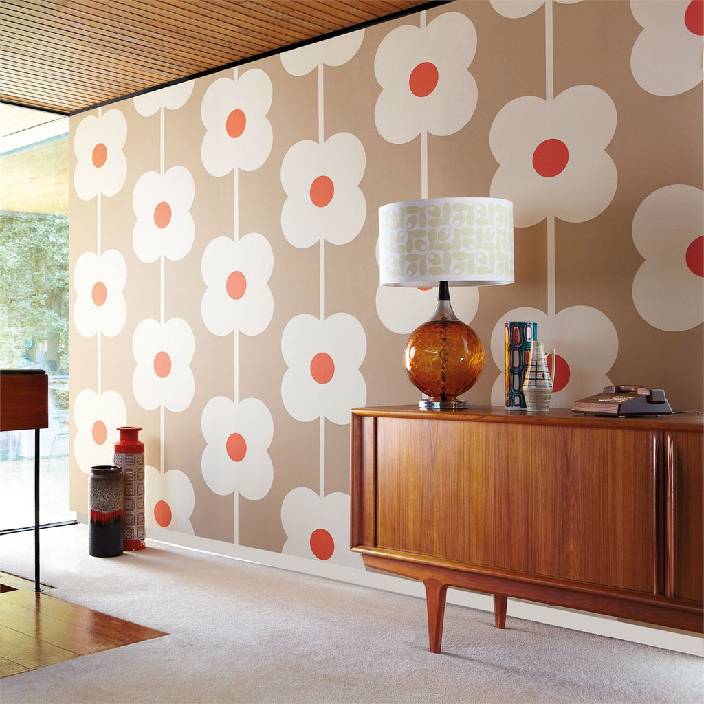 Orla Kiely Wallpaper. Giant Abacus Flower 110408. Retro Mid Century Design.