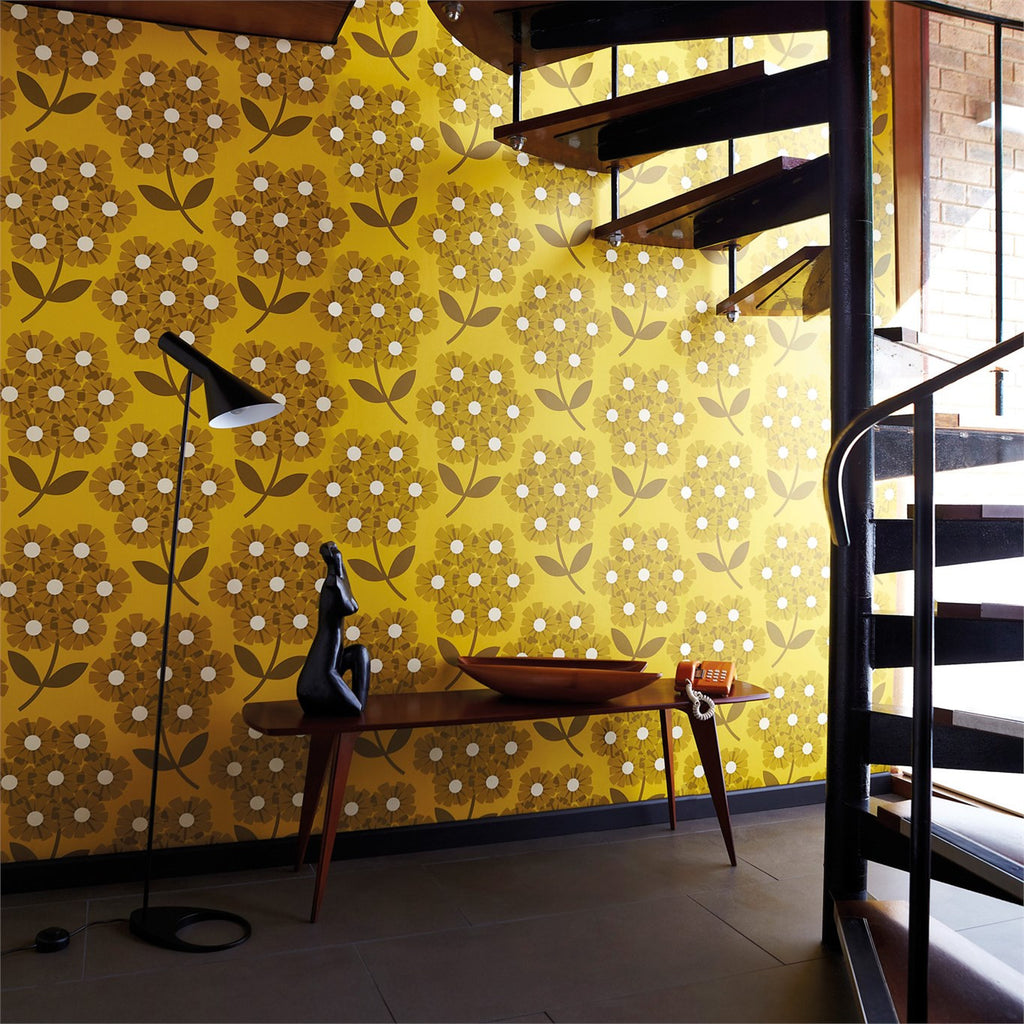 Orla Kiely Giant Rhododendron Wallpaper in Yellow/Mustard