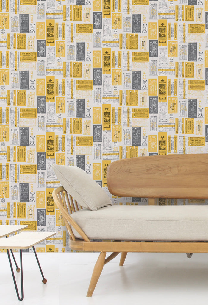 Hold Tight Wallpaper in Mustard by Mini Moderns
