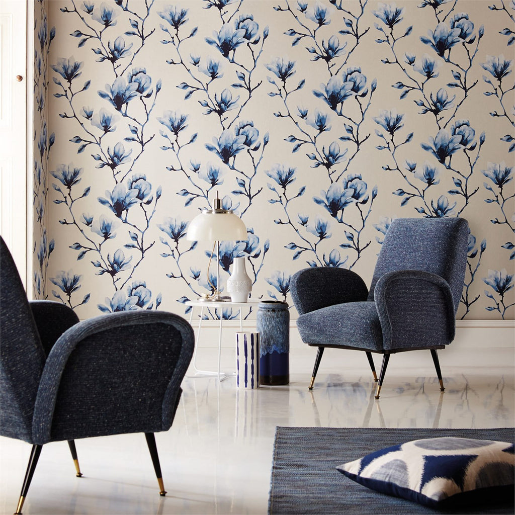Harlequin Lotus Wallpaper in Indigo 110881