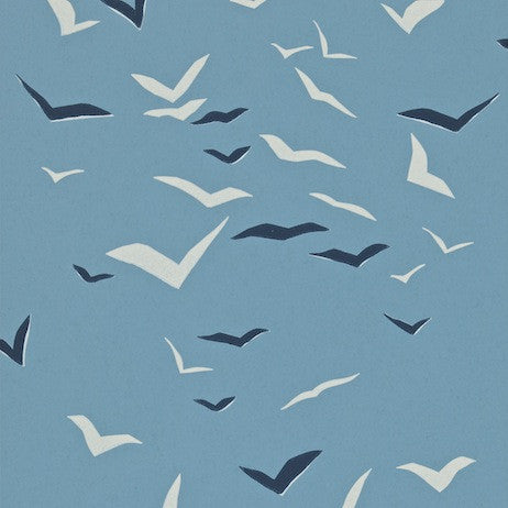 Scion's Flight 110210 Wallpaper in Denim, Indigo and Chalk. From their Melinki Collection