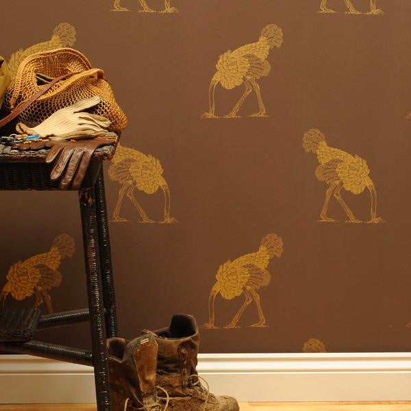 Beware the Moon Ostrich 02 Gold Leaf Wallpaper available at Removable Wallpaper Online Store
