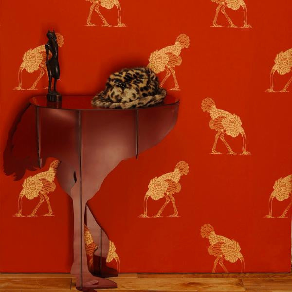 Ostrich 05 by Beware the Moon in Australia. Gold Ostriches on a rich red wallpaper.