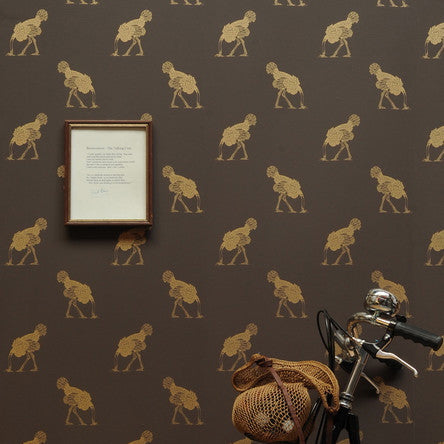 Beware the Moon Ostrich Wallpaper. Small gold ostriches on a brown background. Available in Australia