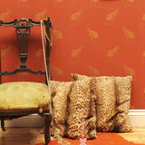 Ostrich 06 Wallpaper Beware the Moon Wallpaper . Small gold Ostrich on a rich orange background.