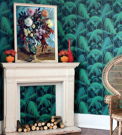 Cole & Son Palm Jungle Wallpaper 95/1003 Australia. Green on Black