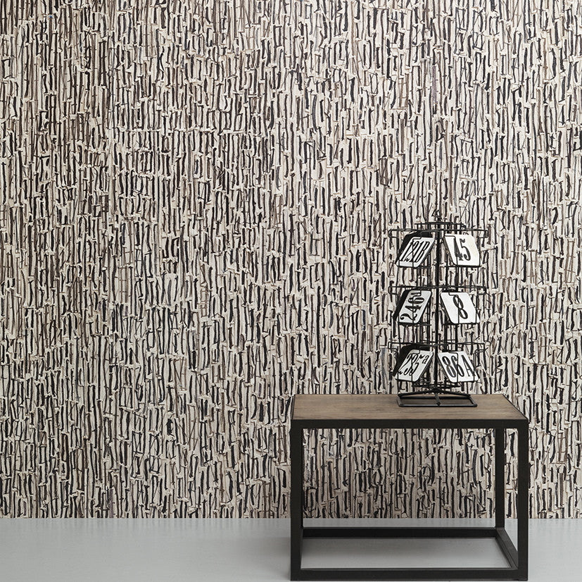 Remixed Wallpaper REM08 by Arthur Slenk & NLXL. A digitally printed wallpaper, inspired by music sheets. Washable. Available in Australia.