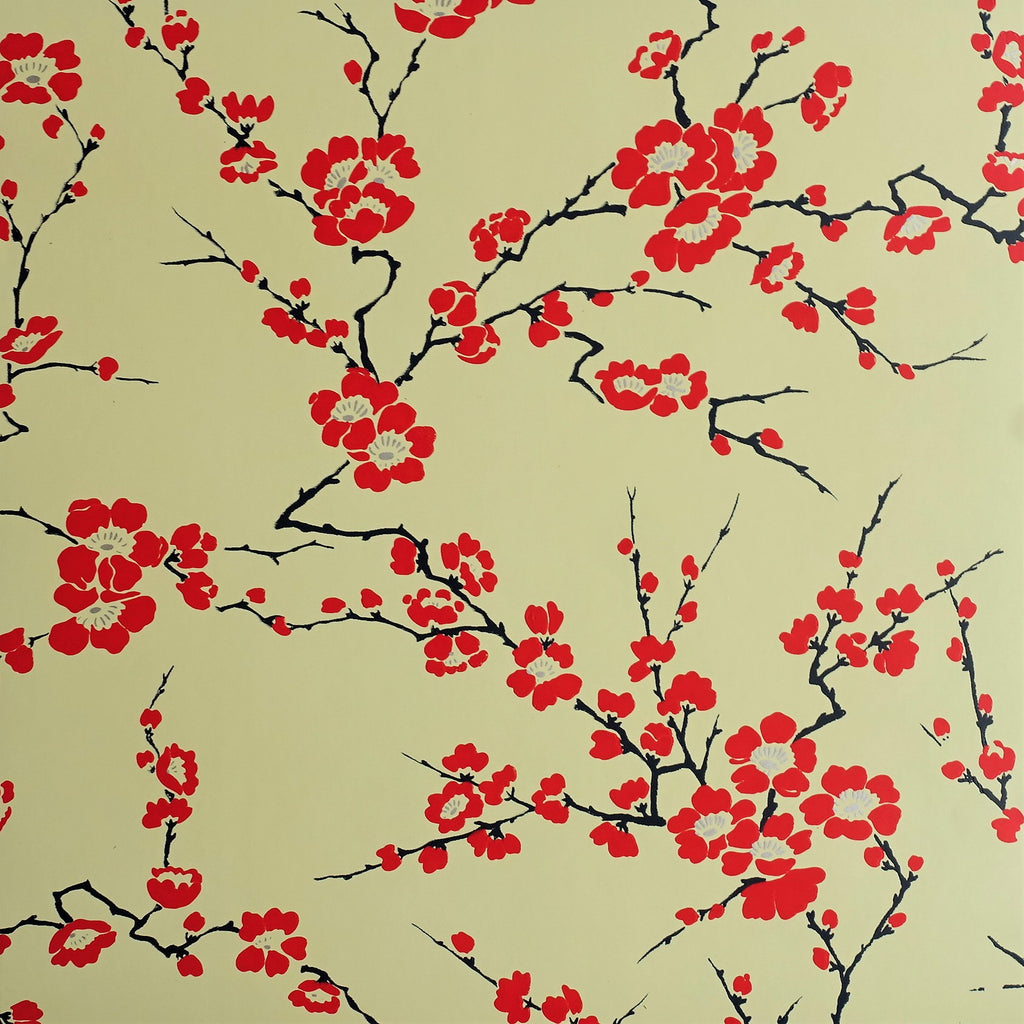 Cherry Blossom Wallpaper in Yellow & red by Signature Prints