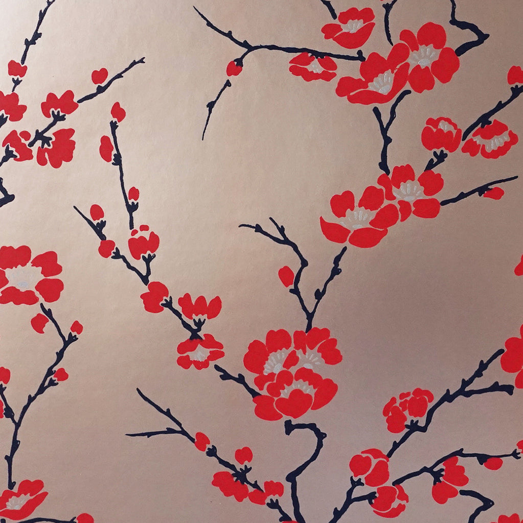 Cherry Blossom Wallpaper in red & bronze metallic by Signature Prints