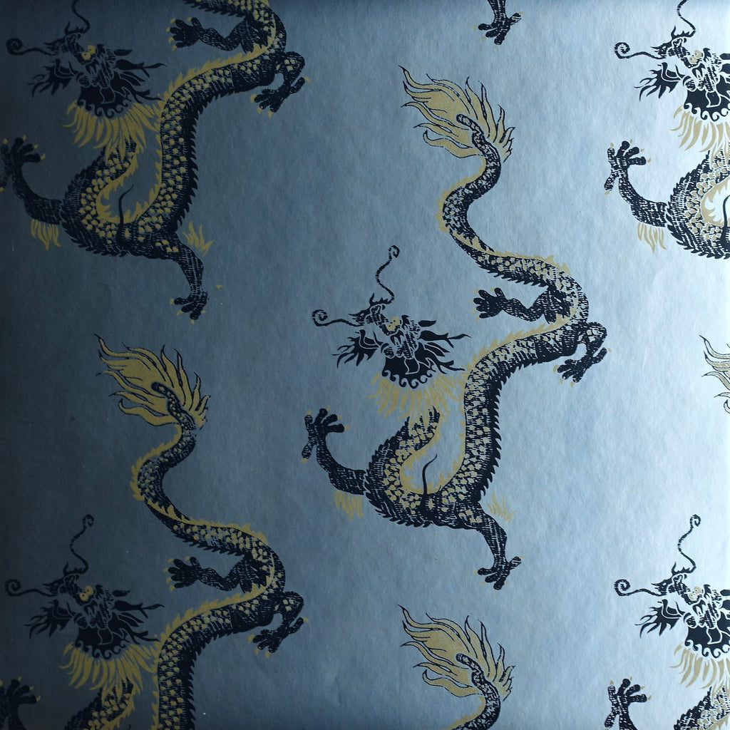 Dragon Wallpaper by Signature Prints in Metallic Silver