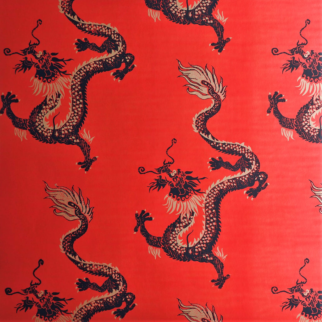 Dragons Wallpaper in Red by Signature Prints