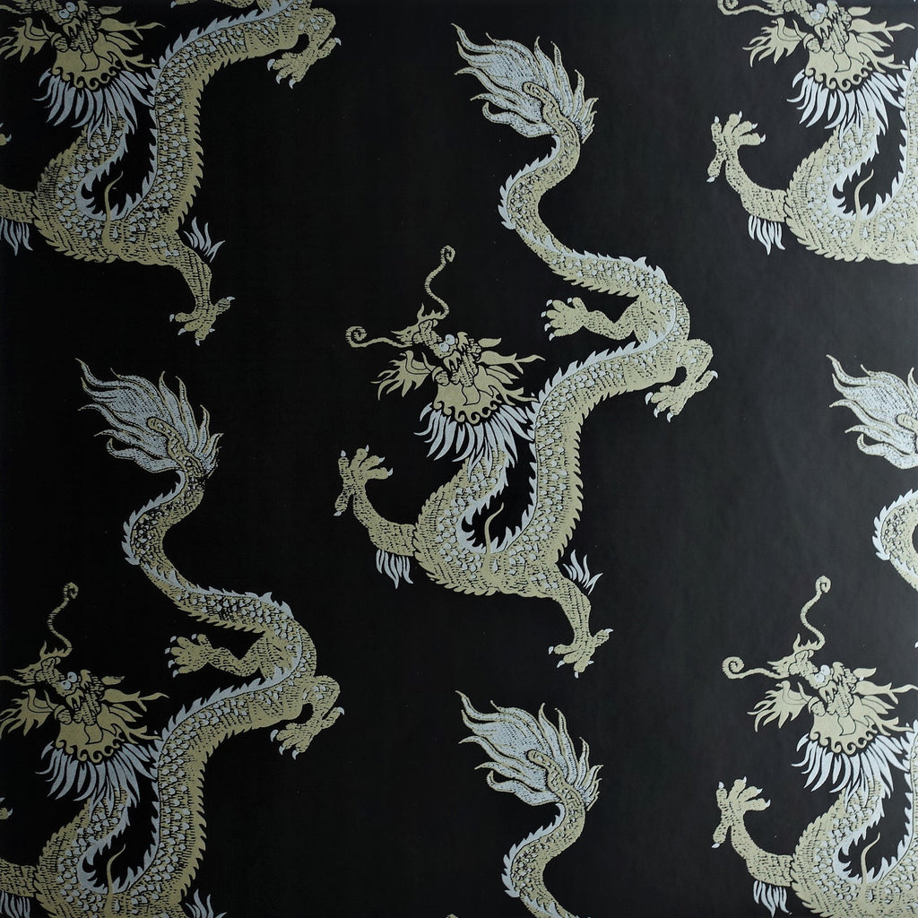 Dragon Wallpaper in Black Gold & Silver