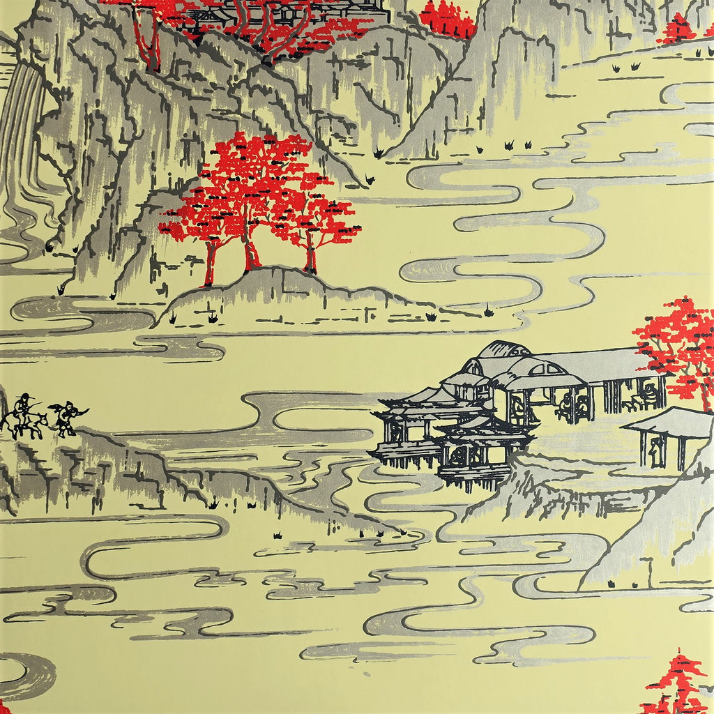 Summer Palace Wallpaper by Signature Prints in Yellow & Red