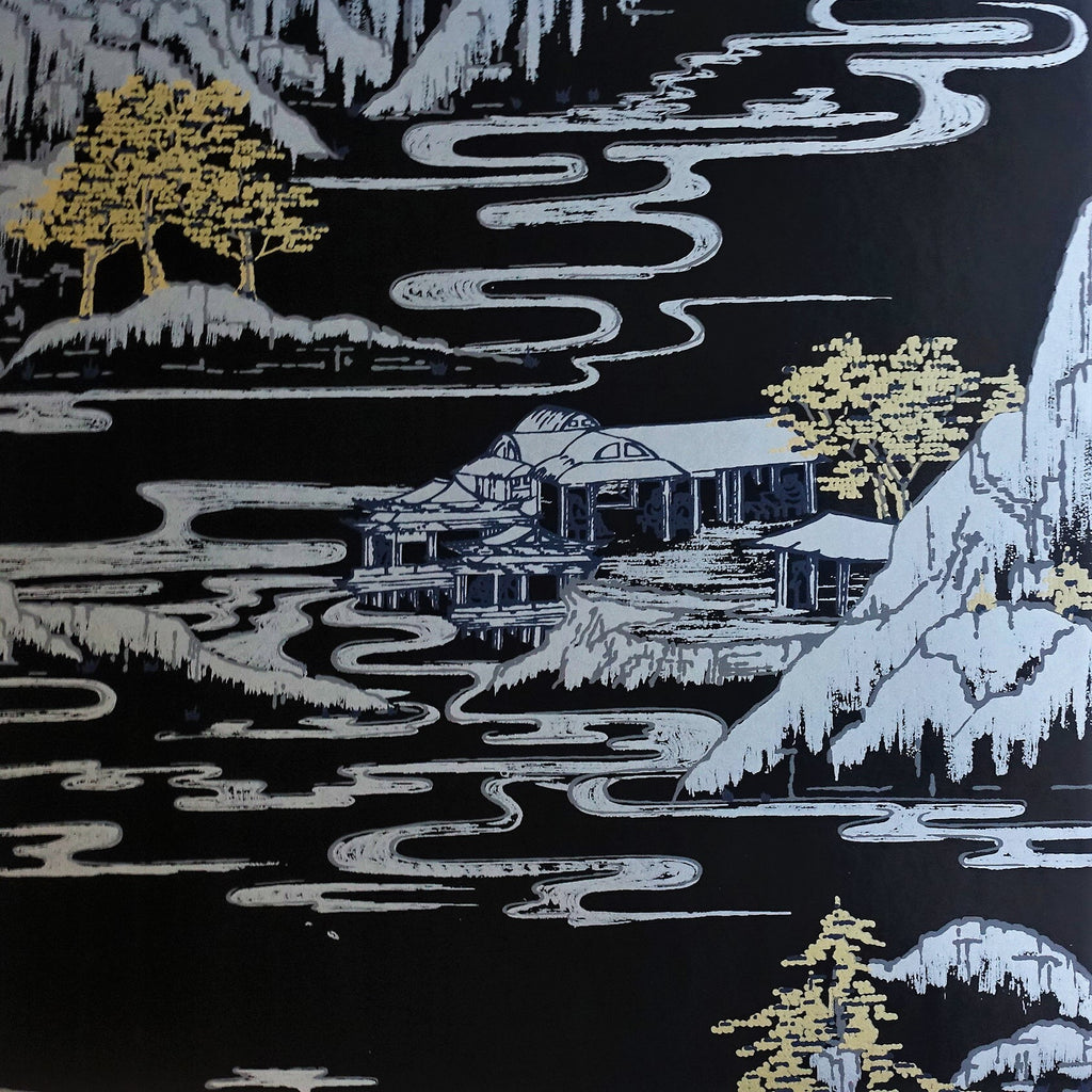 Summer Palace Wallpaper in Black by Signature Prints