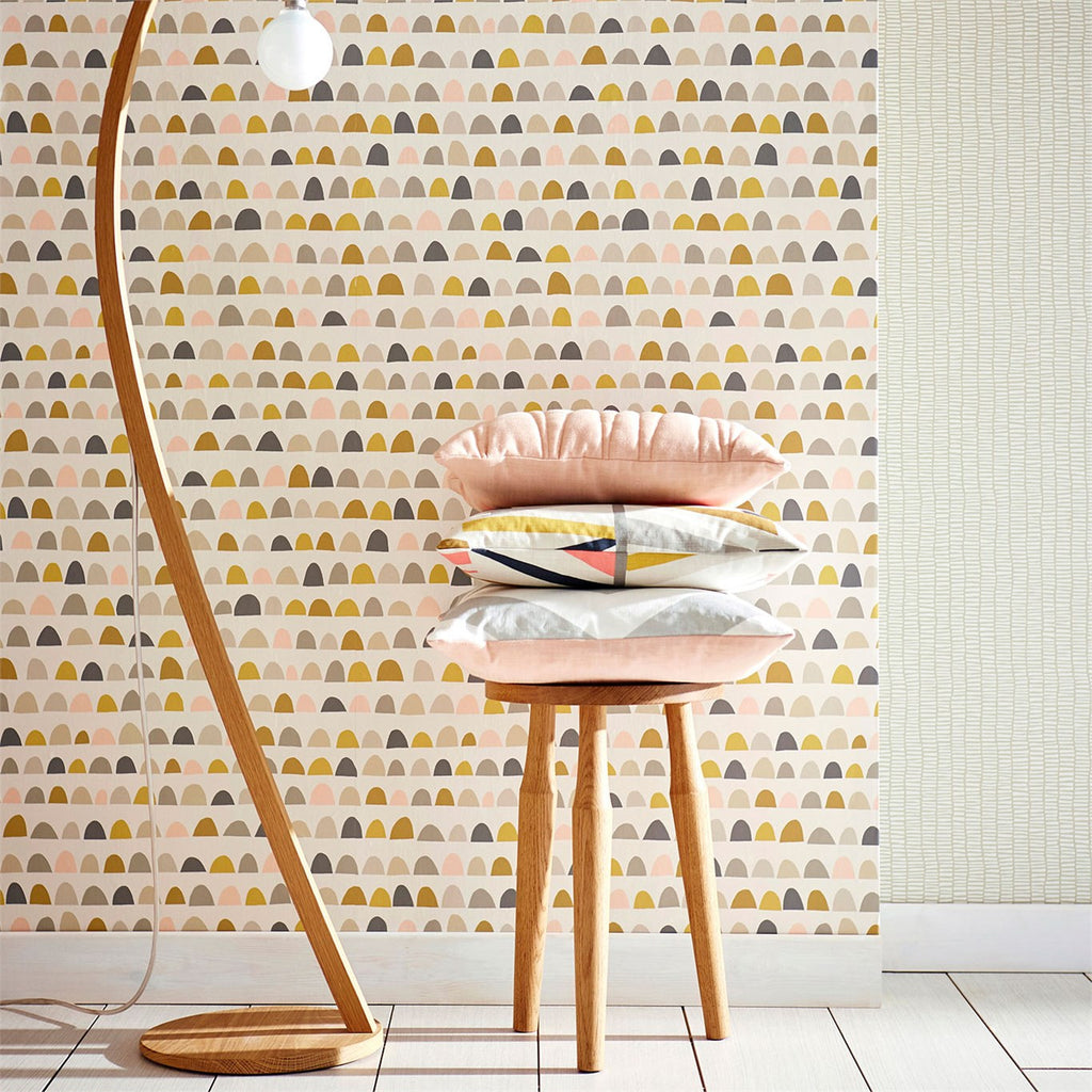 Scion Lohko Wallpaper Priya Patterned wallpaper pink gold brown blue grey retro palette tetra cushion_1024x1024