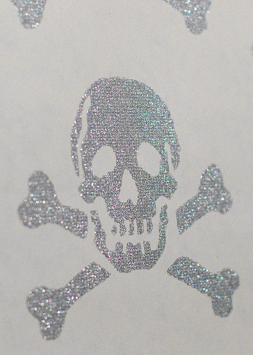 Close up of the Skulls Wallpaper in silver glitter. Sold by the Metre in Australia.