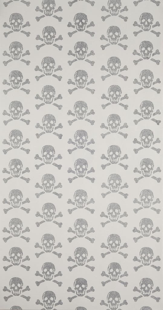 Beware The Moon Wallpaper | Skulls in Silver Glitter