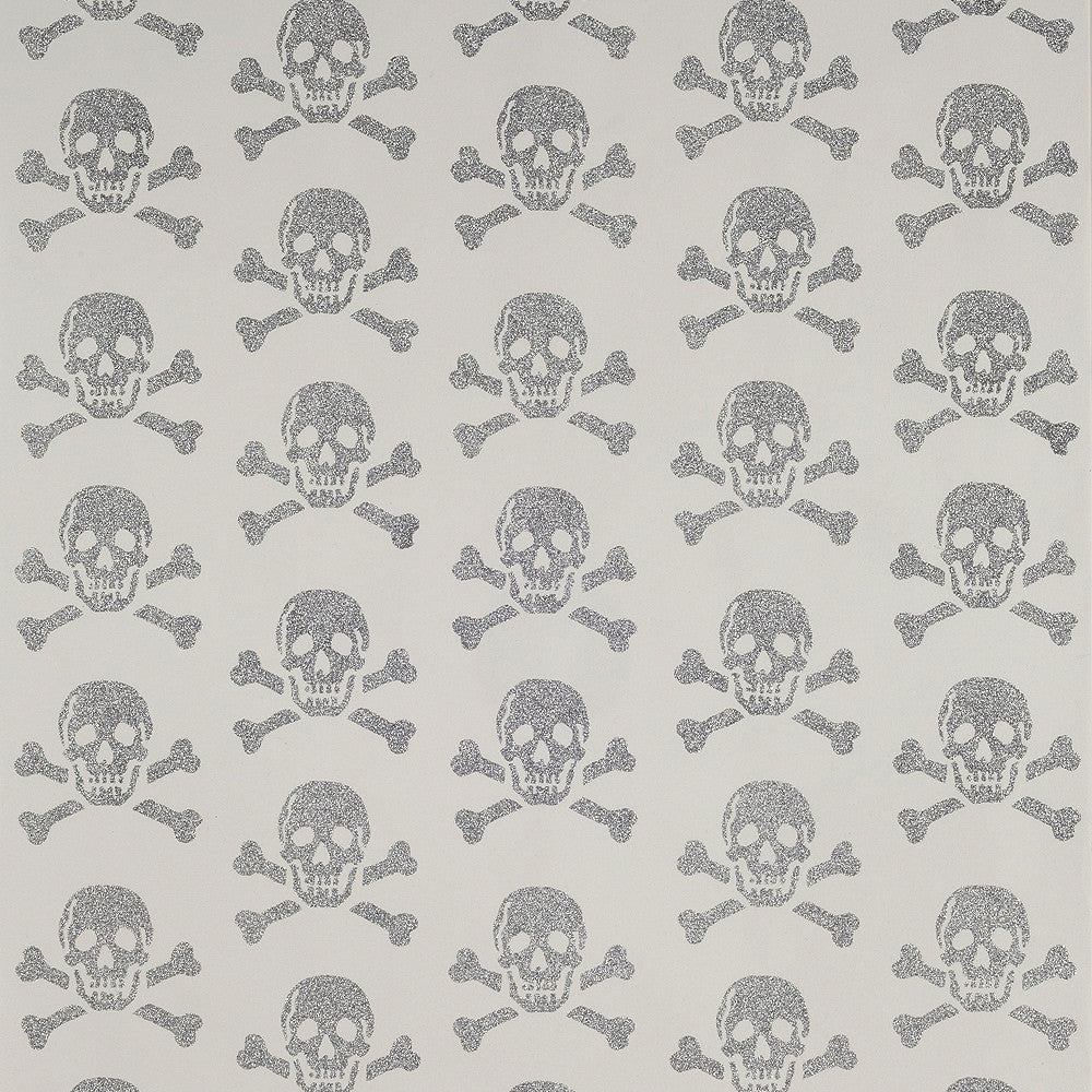 Skulls Silver Glitter Wallpaper by Beware the Moon. Sold by the Metre in Australia. Printed on Non Woven Wallpaper