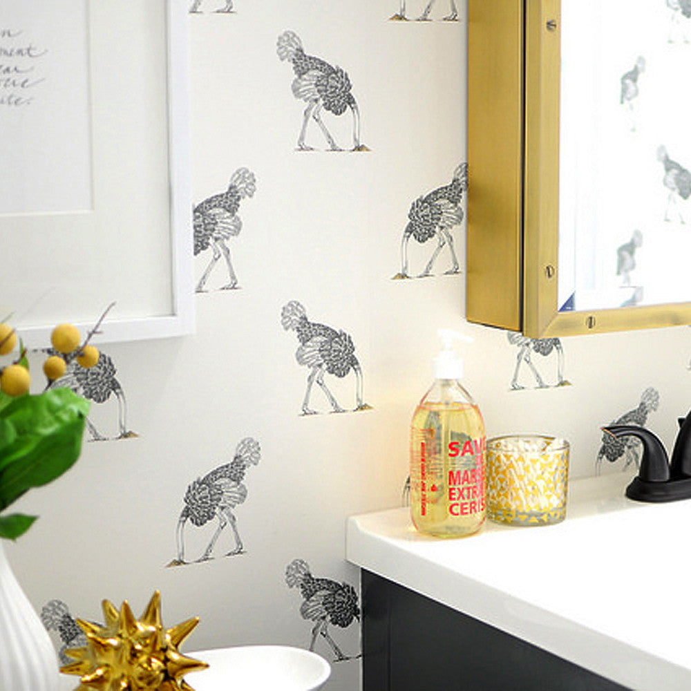 Ostrich Wallpaper by Beware the Moon | Small Ostrich in Pencil on a Bone non woven wallpaper. Available in Australia