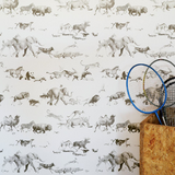 Beware the Moon Animals Wallpaper. 10m x 52cm rolls. Hand drawn animal wallpaper. Amazing detail.