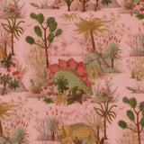 Dinosauria Wallpaper in Plaster Pink