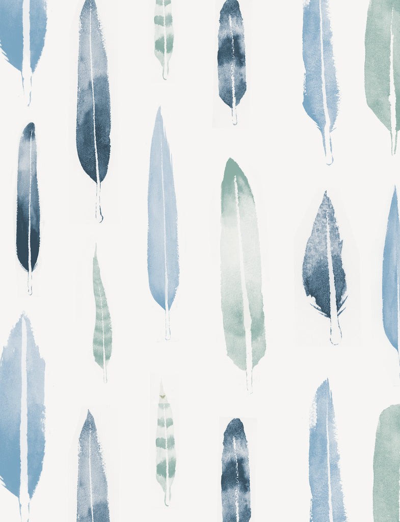 Mini Moderns Wallpaper. Feathers in Chalkhill Blue