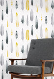 Feathers Wallpaper by Mini Moderns in Mustard
