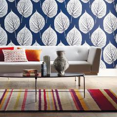 Harlequin Wallpaper - Leaf 110371 - Indigo & Chalk - Momentum Wallcoverings Volume 2