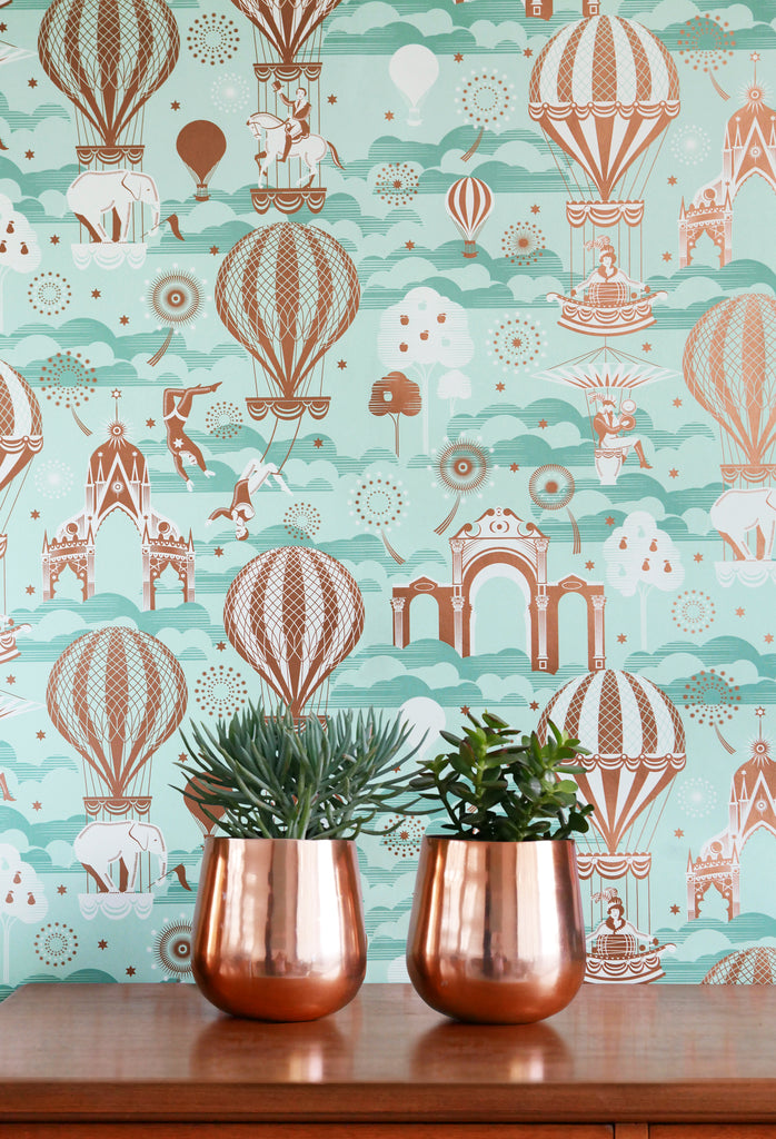 Mini Moderns Wallpaper | Pleasure Gardens Pale Verdigris & Copper