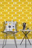 Mini Moderns Wallpaper | Net and Ball Mustard