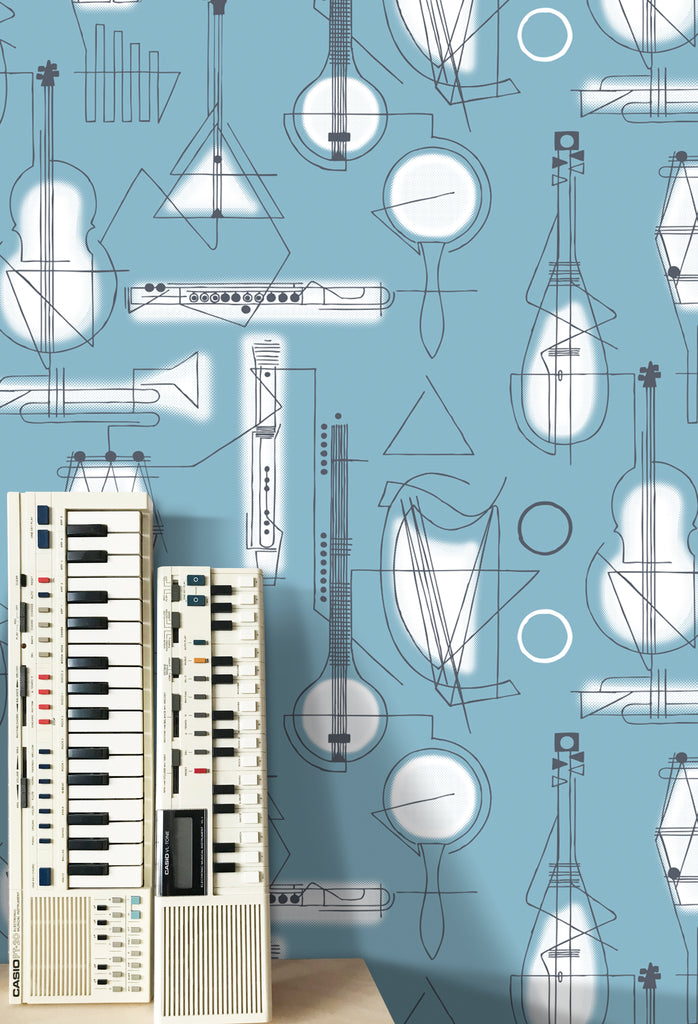 Mini Moderns Wallpaper | Concert Chalkblue
