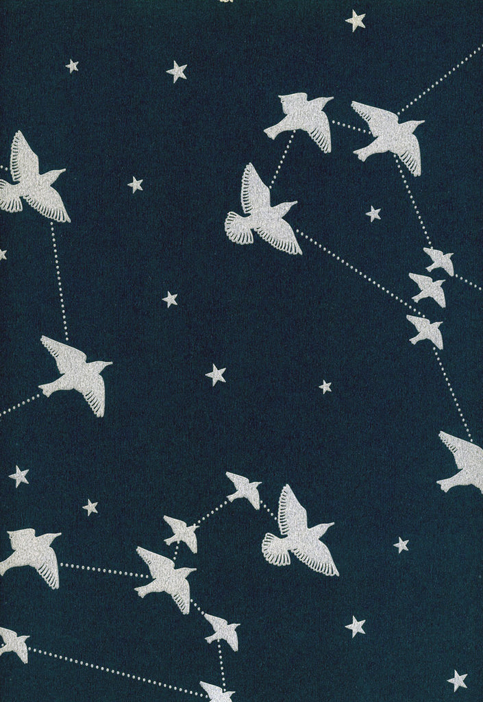 Star-ling Wallpaper by Mini Moderns in Midnight & Silver