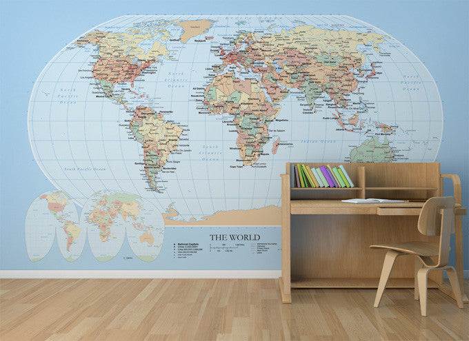 World Map Mural by Muffin & Mani