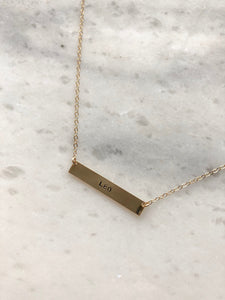 Custom Handstamped Name Plate Necklace in 14k Gold