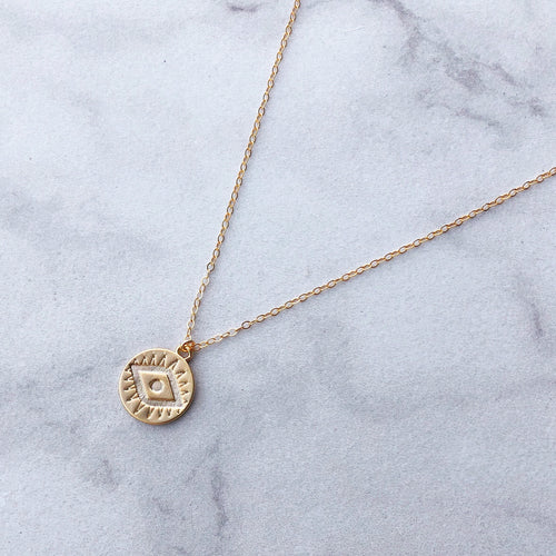 Evil Eye Necklace in 14k Gold