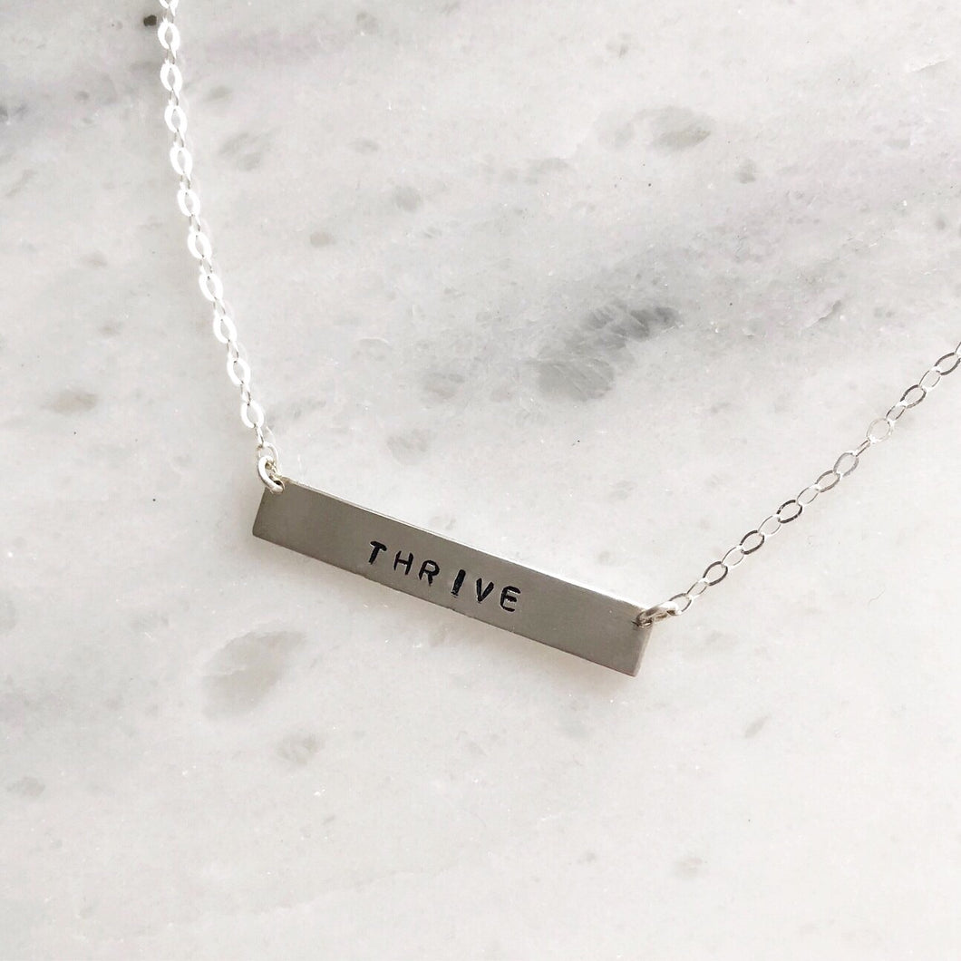 Custom Handstamped Name Plate Necklace in Sterling Silver
