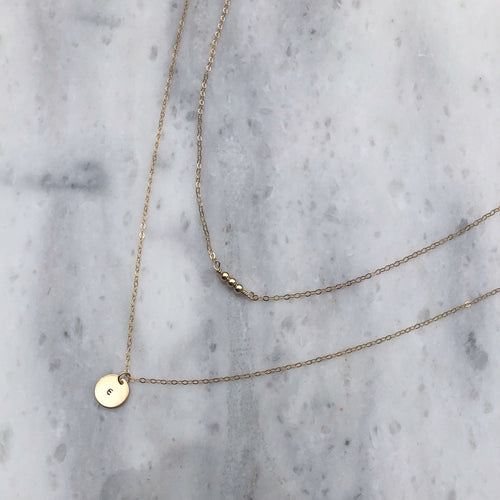 Initial Necklace SET in 14k Gold