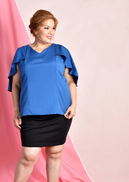 Cape Blouse (Pink/Blue/Black)