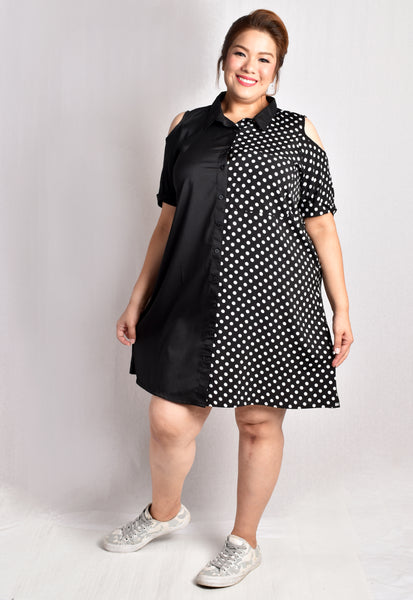 Half Black Collared Shirt Dress (Green Stripes/Polka Dot)
